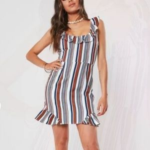 NWT MIssguided red stripe frill cami shift dress